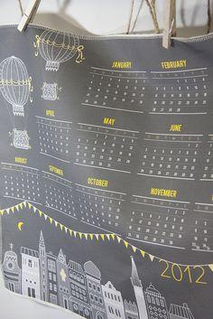 Night Time tea towel calendar by JackieatWeelife