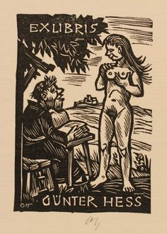 Artist: Norbert H. A man sits at a table and reads from a book to a nude standing woman. Ex Libris, Etching Prints, Dark Fantasy Art, Wood Engraving, Cool Cartoons, Vintage Photographs, Erotic Art, Figurative Art, Vintage Posters
