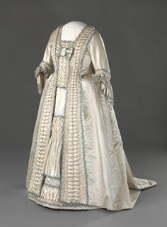Wedding Dress: ca. 1779-1780, Norwegian, hand-woven silk satin, glazed linen, cotton, silk trimmings, baleen boning, hand-stitching.
