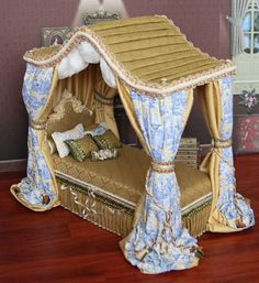 OOAK Victorian Miniature Canopy Bed for Fashion by beyourdolls
