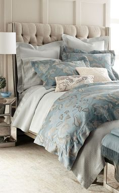 Sferra luxury bedding linen bedroom decor, bedroom ve home bedroom. Bed Linen Design, Bed Design, Blue Bedding, Bedding Sets, Peacock Bedding, Bedroom Bed, Bedroom Decor, Linen Bedroom, Master Bedrooms