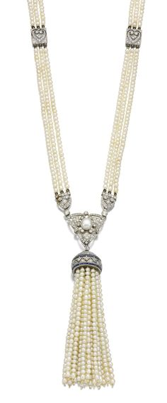 SEED PEARL, SAPPHIRE AND DIAMOND SAUTOIR, CIRCA 1910 Designed as three rows of seed pearls highlighted at intervals with pierced square plaques, suspending an openwork pendant of tassel design set with calibré-cut sapphires, highlighted with circular- and single-cut diamonds, length approximately 770mm