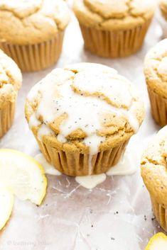 Healthy Lemon Poppy Seed Muffins Recipe (V, GF): wonderfully moist and fluffy muffins bursting with poppy seedsand lemon flavor. The perfect balance of sweet and tart!#Vegan #GlutenFree #DairyFree #Breakfast #Snacks   Recipe on BeamingBaker.com