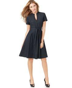 pretty tailored dark dress for work