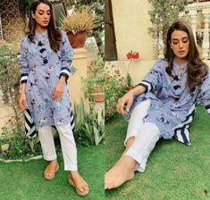 Iqra Aziz and Farhan Saeed on the Set of Drama Suno Chanda 2 Pakistani Fashion Casual, Pakistani Dresses Casual, Pakistani Girl, Pakistani Dress Design, Pakistani Actress, Bollywood Fashion, Indian Attire, Indian Outfits, Casual Work Outfits