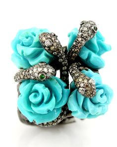 Wendy Yue - Turquoise and Diamond Snake Flower Ring