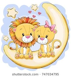 Two cute lions is sitting on the moon vector image on VectorStock Cartoon Lion, Cute Cartoon Animals, Baby Animals, Moon Vector, Vector Art, Colorful Pictures, Cute Pictures, Lion Images, Pumpkin Vector