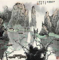 By Bai Xueshi shared via TW by Tim Shum Oriental, Chinese Brush, Chinese Landscape, China Art, Chinese Painting, Painting & Drawing, Landscape Paintings, Moose Art, Asian