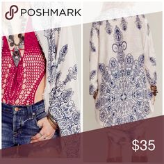 Boho Henna Print Kimono Shawl Cardigan Ivory with blue background . Nwot light weight shawl style boho kimono cardigan . Great for layering . One size fits all . Light weight great for traveling . Available in black and mocha too . Vivacouture Accessories Scarves & Wraps