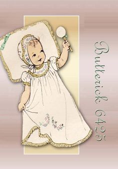 Butterick 6425 Infant Dress Including Entire Layette Ensemble Variety of Baby Garments Adaptable for Christening Gown Unused Pattern From