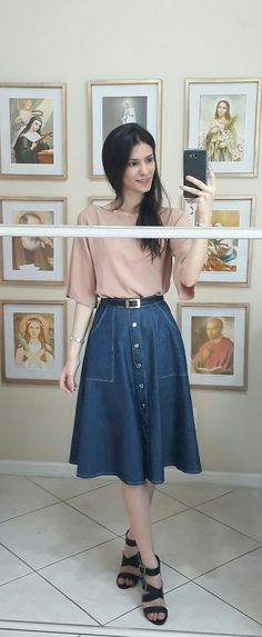 0d507fe8742 Pink blouse and denim midi skirt