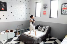 The challenge: create a minimalist-inspired Lightning McQueen Room for a 3 year old boy. Baby Room Themes, Bedroom Themes, Baby Room Decor, Boy Toddler Bedroom, Toddler Rooms, Disney Cars Room, Disney Pixar, Boy Car Room, Grey And White Room