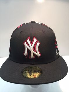 027b6e64be6d4 NEW ERA GENUINE 59FIFTY NEW YORK YANKEES LOGO HAT CAP BLACK WHITE RED 7 1 8   fashion  clothing  shoes  accessories  mensaccessories  hats (ebay link)
