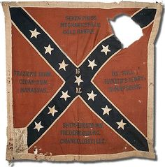 Civil War Battle Flag of the 16th North Carolina Infantry Regiment.  16th Infantry Regiment was formerly the 6th Volunteers. The regiment completed its organization at Raleigh, North Carolina, in June 1861.  Sent to Virginia with about 1,200 men, the regiment was assigned to General W. Hampton's, Pender's, and Scales' Brigade. It fought at Antietam and served in many battles of the Army of Northern Virginia, from Seven Pines to Cold Harbor.