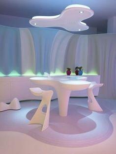 table-Futuristic Home Interior Design by Karim Rashid – Smart-ologic Corian Li… tafel-futuristisch interieurontwerp door Karim Rashid – Smart-ologic Corian Living Futuristic Interior, Futuristic Furniture, Retro Futuristic, Karim Rashid, Best Interior Design, Interior And Exterior, Interior Modern, Minimalist Interior, Chair Design