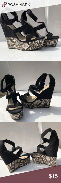 Wedges with fun pattern Black wedges. With block of black and a pattern. Worn once. Mark & Maddix Shoes Wedges