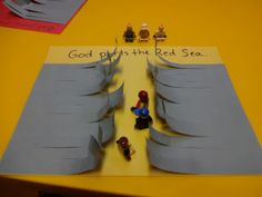 Daily Grace For Kids — Moses and the parting of the Red Sea: Lego edition Bible Story Crafts, Bible Crafts For Kids, Preschool Bible, Bible Lessons For Kids, Bible Activities, Bible Stories, Church Activities, Sunday School Activities, Sunday School Lessons