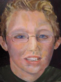 Portret van Max (kleinzoon) in olieverf. (2011). Verjaardagscadeau voor Ank.