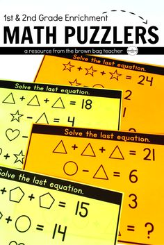 In this set of Math Puzzlers, students solve equations by finding the unknown value of 3 shapes and then, answer one final question based on the value of each shape. Accomplishing difficult tasks allows students to develop a mindset of growth and resilience.