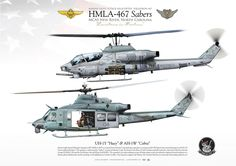 "UNITED SATATES MARINE CORPS MARINE LIGHT ATTACK HELICOPTER SQUADRON 467 (HMLA-467) ""Sabers"" MAG-29. MCAS New River, North Carolina"