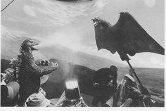 Godzilla attacked by Rodan puppet on GHIDORAH THE THREE-HEADED MONSTER