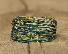African Bracelet Magnetic Clasp, Fiber Bracelet, Stackable Bracelet, Girlfriend Gift, Tribal Jewelry, Colorful Mint Green Seed Bead