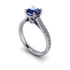 Cushion Cut Blue Sapphire Engagement Ring by SerenadeDiamonds