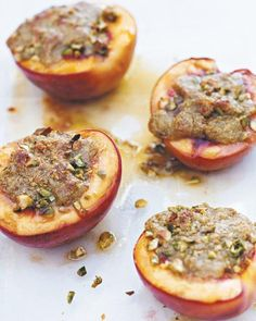 Baked Nectarines with Pistachios... Kind of brilliant way to eat cobbler/crisp without actually eating cobbler/crisp. I imagine this idea would be good with any go-to crumb topping. Must try!!