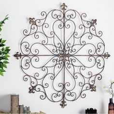 Fleur De Lis Iron Wall Art French Country Medallion Metal Vintage Style for sale online Decor, Wrought Iron Decor, Outside Wall Decor, Porch Wall Decor, Patio Wall Decor, Iron Wall Decor, Tuscan Decorating, Medallion Wall Decor, Iron Decor