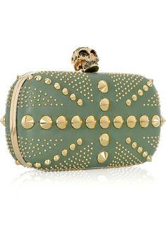 Alexander McQueen's green leather box clutch