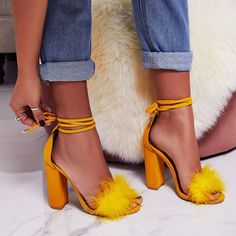 Women Sandals Fashion Shoes Thick High Heels Ankle Strap Black Rabbit's Hair Dress Shoes Lace-up Sandals 2019 Style Shoes Stilettos, Pumps Heels, Stiletto Heels, High Heels, Fur Heels, Lace Up Sandals, Lace Up Heels, Women Sandals, Shoes Sandals