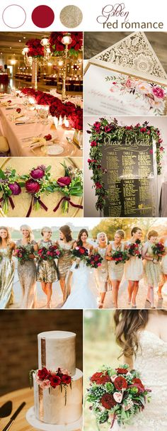 vintage gold and red fall wedding color ideas