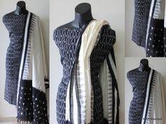 Ikat top and dupatta Kurta Designs Women, Salwar Designs, Long Kurti With Jeans, Designer Wear, Designer Dresses, Punjabi Suits Designer Boutique, Diy Dress, Dress Ideas, Cotton Dresses