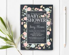 Floral Chalkboard Baby Shower Invitation Baby by JessieKdesign