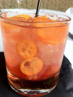 """<i>1 sugar cube<br /> 3 dashes of orange bitters<br /> 1 maraschino cherry<br /> ½ kumquat thin slices<br /> Splash of soda<br /> 1½ oz. Maker's Mark Bourbon Whiskey<br /> Garnish: kumquat slices</i><br /><br />  Muddle all ingredients together except bourbon in a cocktail shaker. Add bourbon and ice. Shake, and strain into a glass filled with ice. Garnish with thin slices of kumquat.<br /><br />  <i>Source: Carol Teich, <a href=""""http://www.napavalleygrille.com/"""" target=""""_blank"""">Napa Valley…"""