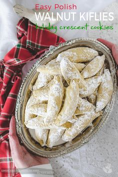 Easy Polish Walnut Kiflies Holiday Crescent Cookies is part of Cookies recipes christmas - Traditional Christmas treat of Eastern Europe, these easy Polish walnut kiflies are buttery, meltinyourmouth, delicate cookies Holiday Baking, Christmas Baking, Cookie Desserts, Dessert Recipes, Snack Recipes, Polish Cookies, Crescent Cookies, Walnut Cookies, Walnut Cookie Recipes