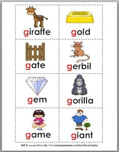 Hard and Soft G Sorting plus Worksheets & Posters - Set 1 Alphabet Words, Alphabet Phonics, English Phonics, English Grammar, Letter Activities, Preschool Activities, Soft G Words, Blends Worksheets, Flashcards For Kids