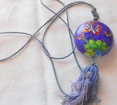Vintage Chinese large enamel pendent Necklace by houuseofwren