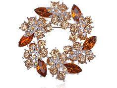 Amber Topaz Crystal Rhinestone Floral Flower Leaf Reef Craft Fashion Brooch Pin Alilang. $15.99