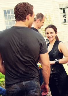 Jai Courtney and Emilia Clarke