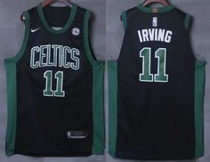 278812abfbc Men's Boston Celtics #11 Kyrie Irving Black 2017-2018 Nike Swingman General  Electric Stitched NBA Jersey