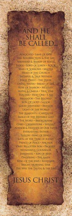 Names of Christ - For more, visit http://www.pinterest.com/AliceWrenn/