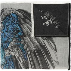 Alexander McQueen star peacock jacquard scarf (5.815 DKK) ❤ liked on Polyvore featuring accessories, scarves, grey, multi colored scarves, peacock scarves, grey scarves, colorful scarves and peacock shawl