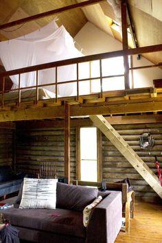 cabin, mezzanine, 1:2 bedrooms, now has ceiling fans - woo hoo!
