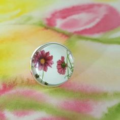 Dainty Deep Pink Cosmos Flowers Miniature Artwork in adjustable Silver plated Ring Little Elm, Cosmos Flowers, Cool Gifts For Women, Silver Plate, Floral Design, Gemstone Rings, Handmade Jewelry, Jewelry Design, Jewelry Making