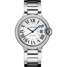 Ballon Bleu de Cartier watch 36 mm, 18K white gold, diamonds, sapphire (918.037.355 IDR) ❤ liked on Polyvore featuring jewelry, watches, 18 karat gold jewelry, diamond dial watches, white gold jewellery, 18k jewelry and water resistant watches