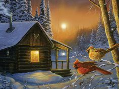 LED Wall Art - Cabin and Cardinals, Size x ID: exciting line of gallery wrapped canvas art features beautiful licensed art by renown Winter Cabin, Winter Art, Rustic Painting, Light Up Canvas, Cabin Lighting, Christmas Paintings, Wall Art Pictures, Led, Cardinals
