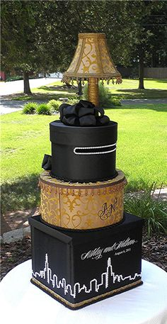 Featured  In Chicago Wedding Guide  ELITE Collection : Wedding Card / Keepsake Box   CHICAGO LIGHTS  Skyscape  In Black and Gold with Embroidered Monogram --45 in Tall