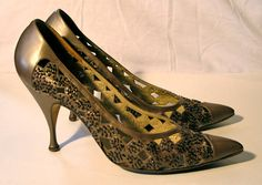 Vintage 1950s Kitten Heel Italian Leather by VioletsEmporium, $65.00