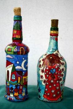 botellas  pintadas botellas botellas viejas,papel de diarios,pinturas acrilicas papel mache,pintado a mano